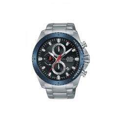 ساعة ألبا بعرض كرونوغراف وحزام معدني للرجال - ٤٥ ملم - فضي (AM3635X1)
