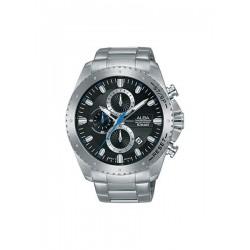 ساعة ألبا بعرض كرونوغراف وحزام معدني للرجال - ٤٥ ملم - فضي (AM3637X1)