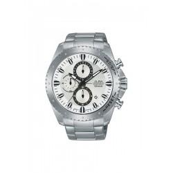 ساعة ألبا بعرض كرونوغراف وحزام معدني للرجال - ٤٥ ملم - فضي (AM3641X1)