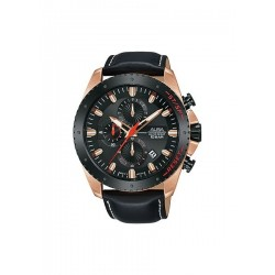 ساعة ألبا بعرض كرونوغراف وحزام من الجلد للرجال - ٤٥ ملم - أسود (AM3642X1)