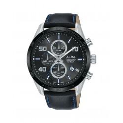 ساعة ألبا للرجال بنظام عرض كرونوغراف وحزام من الجلد - ١٠٠ ملم - (AM3677X1)