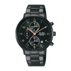ساعة ألبا كاجوال بحجم 40 ملم للرجال بعرض كرونوغراف وحزام معدني (AM3681X1)