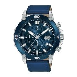 ساعة ألبا العصرية بحجم 45 ملم للرجال بعرض كرونوغراف وحزام جلدي (AM3743X1)