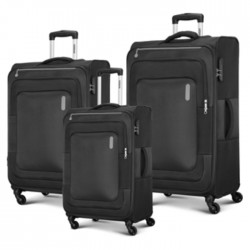 American Tourister Duncan Spinner Soft 3 Pieces Set Luggage Black buy in xcite kuwait