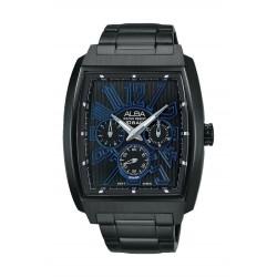 ساعة ألبا الرياضية للرجال بعرض تناظري وحزام معدني - أسود (AP6495X1)