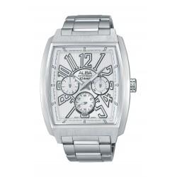 ساعة ألبا الرياضية للرجال بعرض تناظري وحزام معدني -  فضي (AP6501X1)