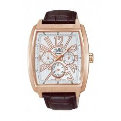 ساعة ألبا الرياضية للرجال بعرض تناظري وحزام جلدي - بني (AP6502X1)