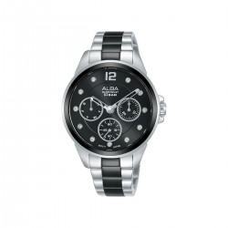 ساعة ألبا 36 ملم أنالوج معدنية للسيدات (AP6631X1) - فضي / أسود