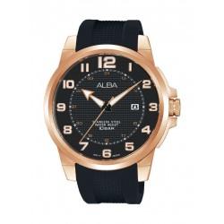ساعة ألبا الرياضية للرجال بعرض تناظري وحزام مطاطي – أسود (AS9C72X1)