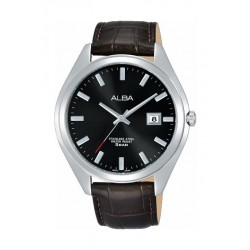 Alba 42.5mm Gents Leather Analog Watch (AS9F29X1) - Black
