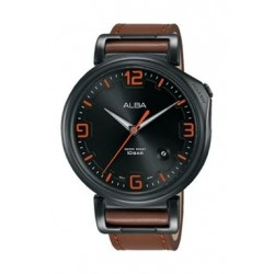 Alba Quartz 43mm Analog Gent's Leather Watch - AS9F85X1