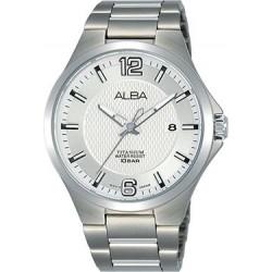 ساعة ألبا بعرض تناظري وحزام معدني للرجال - ٤١ ملم - فضي (AS9G29X1)