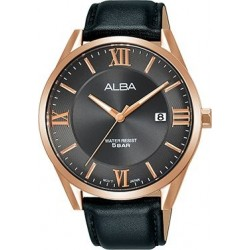 ساعة ألبا بعرض تناظري وحزام معدني للرجال - ٤١ ملم - أسود (AH7R38X1)