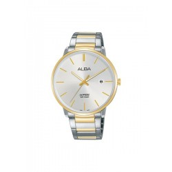 ساعة ألبا بعرض تناظري وحزام معدني للرجال - ٤٠ ملم - فضي / ذهبي (AS9G62X1)