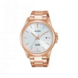 ساعة ألبا بعرض تناظري وحزام معدني للرجال - 41 ملم - (AS9H98X1)- ذهبي-وردي