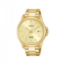 ساعة ألبا بعرض تناظري وحزام معدني للرجال - 41 ملم - (AS9J02X1)- ذهبي
