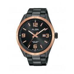 ساعة ألبا الرجالية بعرض تناظري وحزام معدني - ٤٤ ملم - (AS9J16X1)