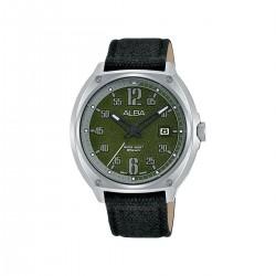 ساعة ألبا للرجال بعرض تناظري و حزام من القماش -42 ملم - (AS9J43X1)- أسود