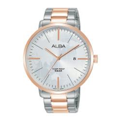 ساعة ألبا كاجوال بحجم 44 ملم للرجال بعرض تناظري وحزام معدني (AS9J78X1)