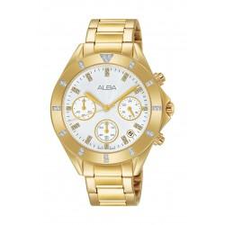 ساعة ألبا العصرية للسيدات بعرض كرونوغراف - ٣٧ ملم - ذهبي (AT3D12X1)