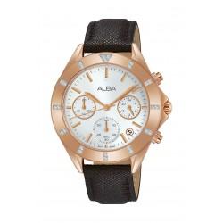 ساعة ألبا العصرية للنساء بنظام عرض كرونوغراف وحزام جلد - ٣٧ ملم - أسود - (AT3D14X1)