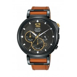 Alba Quartz 44mm Chronograph Gent's Leather Watch (AT3D69X1) - Brown