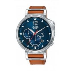 Alba Quartz 44mm Chronograph Gent's Leather Watch (AT3D71X1) - Brown