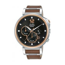 Alba Quartz 44mm Chronograph Gent's Leather Watch - AT3E14X1