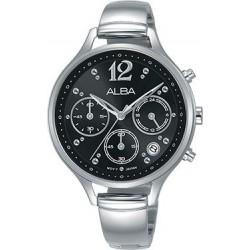 ساعة ألبا بعرض تناظري وحزام معدني للنساء - ٣٦ ملم - فضي (AT3F03X1)