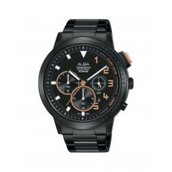 ساعة ألبا الرجالية بعرض كرونوكراف وحزام معدني - ٤٤ ملم - (AT3F31X1)