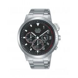 ساعة ألبا الرجالية بعرض كرونوكراف وحزام معدني - ٤٤ ملم - (AT3F35X1)