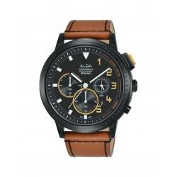 ساعة ألبا الرجالية بعرض كرونوكراف وحزام جلدي - ٤٤ ملم - (AT3F39X1)