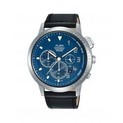 ساعة ألبا الرجالية بعرض كرونوكراف وحزام جلدي - ٤٤ ملم - (AT3F41X1)