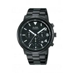 ساعة ألبا للرجال بنظام عرض كرونوغراف وحزام من المعدن - ٤٣ ملم (AT3F43X1)