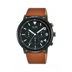 ساعة ألبا للرجال بنظام عرض كرونوغراف وحزام من الجلد – ٤٣ملم(AT3F53X1)