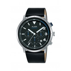 ساعة ألبا الرجالية بعرض كرونوغراف وحزام من الجلد - ٤٤ ملم