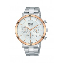 Alba 42mm Chronograph Gent's Metal Watch (AT3F63X1) - Silver