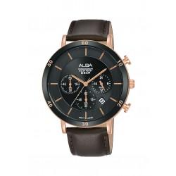 ساعة ألبا الرجالية بعرض كرونوكراف وحزام جلدي - ٤٢ ملم - (AT3F68X1)