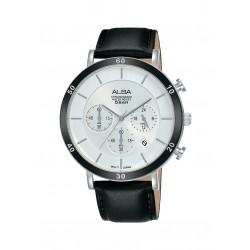 ساعة ألبا الرجالية بعرض كرونوكراف وحزام جلدي - ٤٢ ملم - (AT3F71X1)