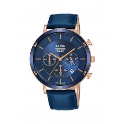ساعة ألبا الرجالية بعرض كرونوكراف وحزام جلدي - ٤٢ ملم - (AT3F72X1)