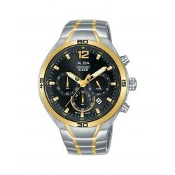 ساعة ألبا للجنسين بعرض كرونوكراف وحزام معدني - ٤٤ ملم - (AT3F78X1)