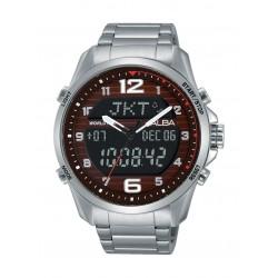 ساعة ألبا الرياضية للرجال بعرض تناظري ورقمي وسوار معدني - فضي (AZ4007X1 )