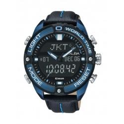 ساعة ألبا الرقمية للرجال بحزام جلدي – أسود (AZ4041X1)