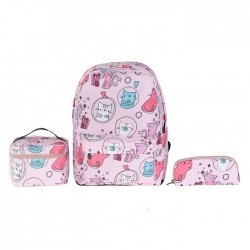 EQ Kids 3 in 1 Backpack set Pink blue white Cat buy in xcite Kuwait