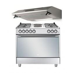 طباخ الغاز بيكو ٤ عيون ٩٠ x ٦٠ سم ثنائي الوقود + شفاط الطباخ المثبت أسفل الخزانة من لاجرمانيا - ٩٠ سم