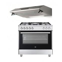 طباخ الغاز بيكو ٩٠ × ٦٠ سم - ٥ شعلات + شفاط الطباخ المثبت أسفل الخزانة من لاجرمانيا - ٩٠ سم