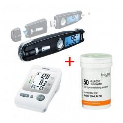 جهاز مراقبة مستوى سكر الدم جي إل ٥٠ مع مدخل يو إس بي + شرائط اختبار مراقبة سكر الدم (٥٠ شريط) + جهاز قياس ضغط الدم بي إم ٢٦ من بيورر