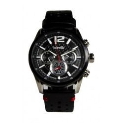 ساعة بوريلي للرجال بنظام عرض كونوغراف - حزام جلد - أسود (BMS20048719)