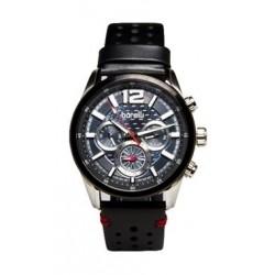 ساعة بوريلي للرجال بنظام عرض كونوغراف - حزام جلد - أسود (BMS20048720)