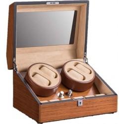 صندوق ٤+٦ خشبي فخم أنيق مطلي بالبني لحفظ ساعات اليد آلية الحركة
